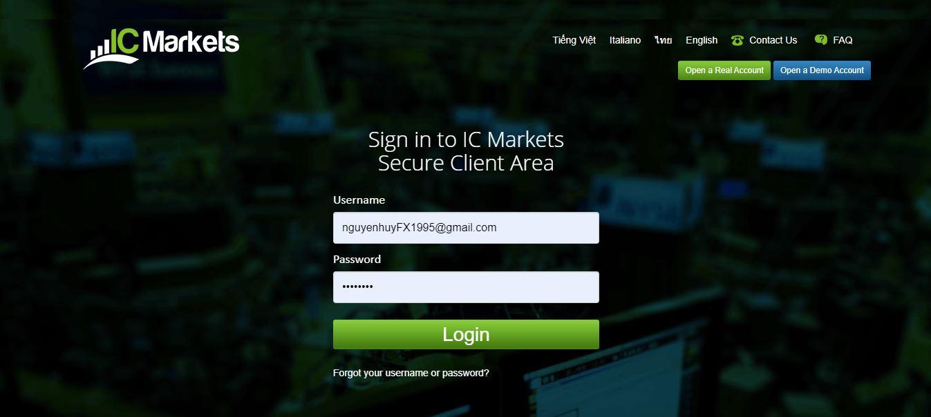 Đăng nhập tài khoản ICMarkets