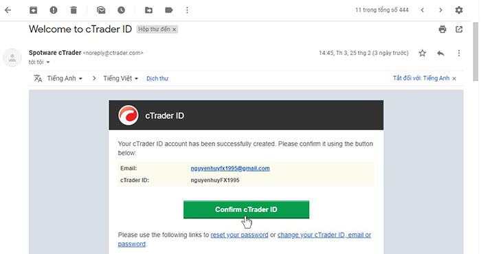 Confirm cTrader ID