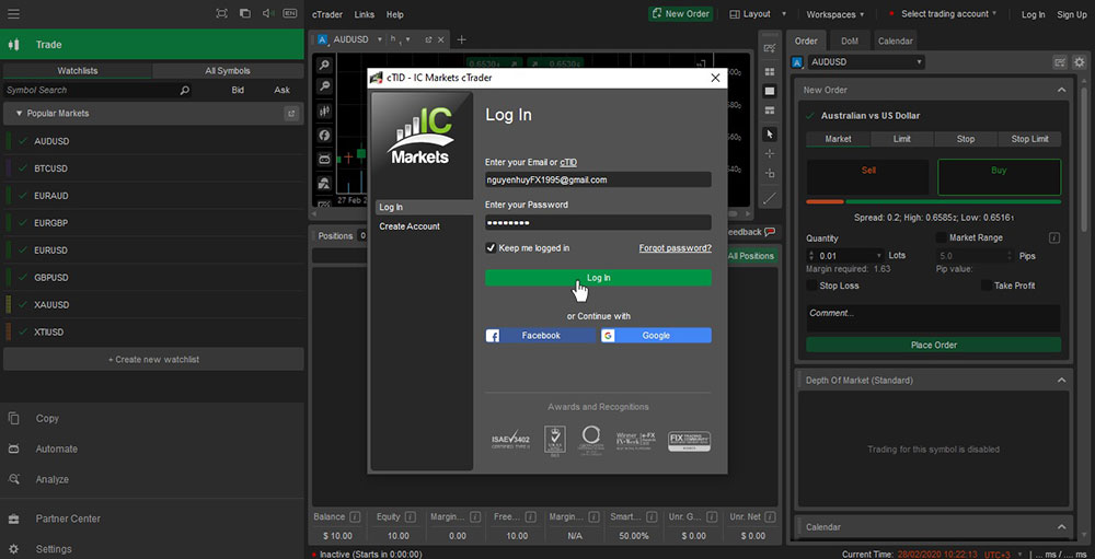 Log in cTrader account