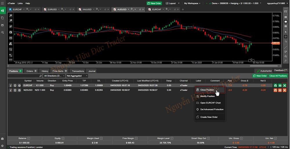 Quản lý giao dịch đang mở cTrader (2)