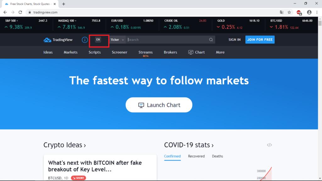 Mở tài khoản TradingView