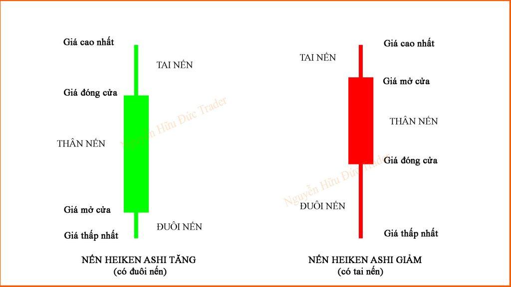 Nến Heiken Ashi tăng có bóng dưới và nến Heiken Ashi giảm có bóng trên