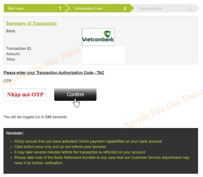 Nhap ma OTP Internet Banking