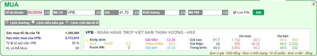 Thuc hien lenh Mua san VPS