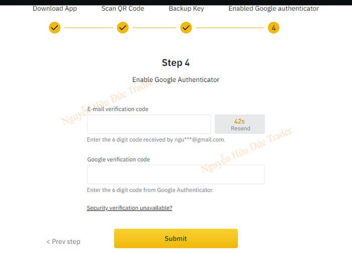 Email and Google verification code